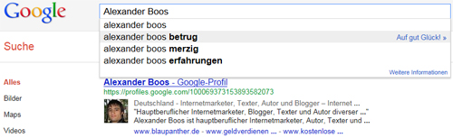Sucht man bei Google nach Alexander Boos kommt wie so oft der Zusatz Betrug
