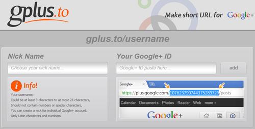 Der Service gplus.to ermöglicht kurze Vanity-URLs für Google Plus Profile